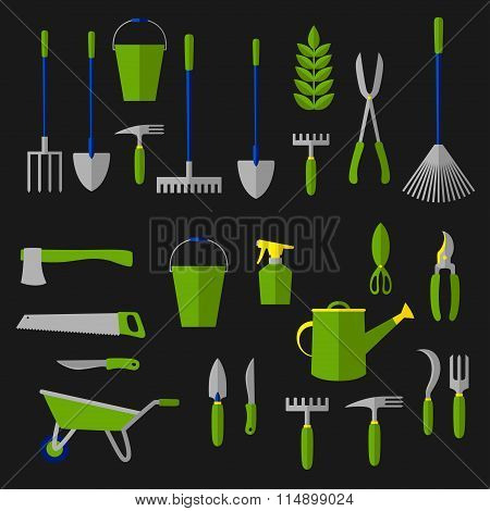 Agriculture and gardening tools flat icons