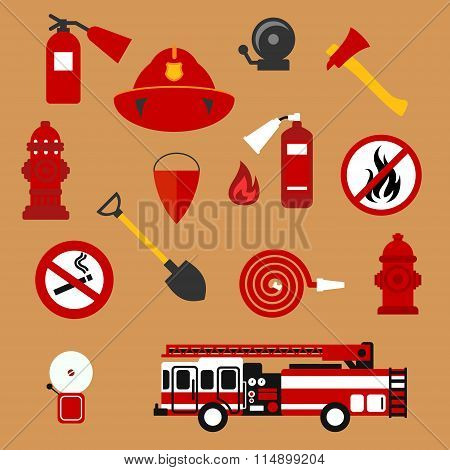 Fire safety, firefighter and protection flat icons