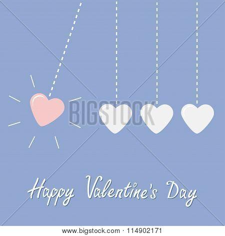 Four Hanging Hearts Dash Line. Perpetual Motion. Happy Valentines Day. Love Card. Rose Quartz Sereni