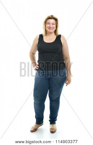 Overweight young woman wearing sportwear, over white background.