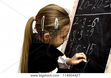 Schoolgirl Wrote On The Blackboard