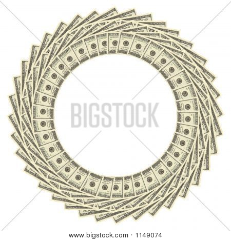 A Dollars Border Isolated Over White Background poster
