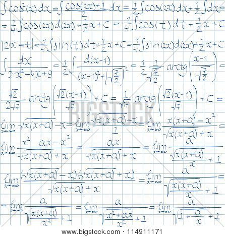 Hand Drawn Mathematical Vector Seamless Pattern With Trigonometrical Formulas And Integrals.