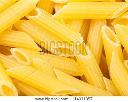 Durum Wheat Semolina Pasta Penne Rigate Close Up