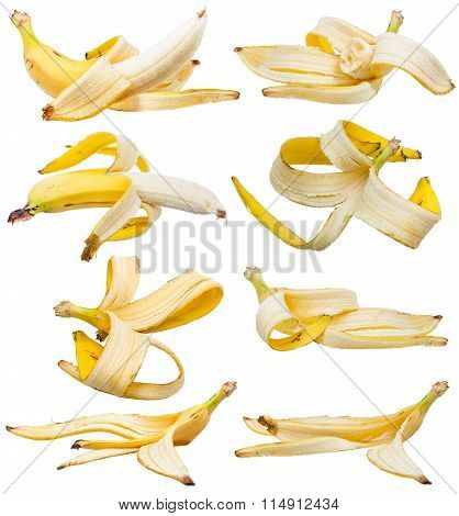 Set Of Peeled Bananas And Banana Peels Isolated