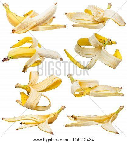 Set Of Peeled Bananas And Banana Peels Isolated