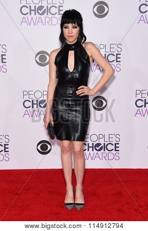 LOS ANGELES - JAN 06:  Carly Rae Jepsen arrives to the People's Choice Awards 2016  on January 06, 2016 in Hollywood, CA.