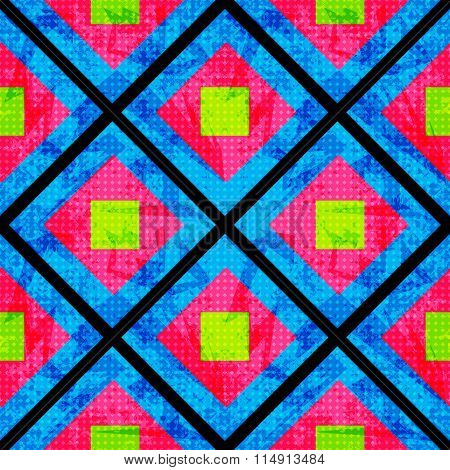 Green And Pink On A Blue Background Of The Polygons. Seamless Geometric Pattern. Grunge Effect