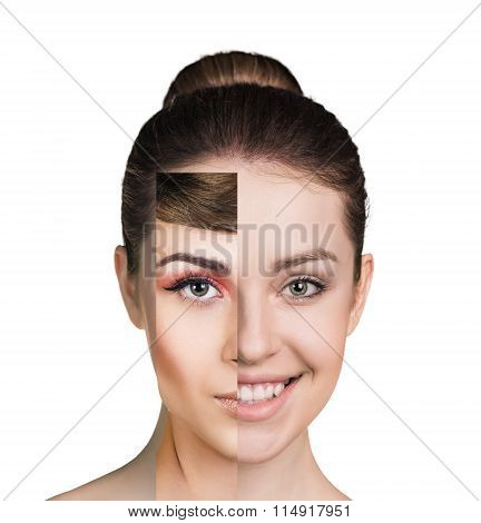 Human female face made of several different people, artistic concept poster