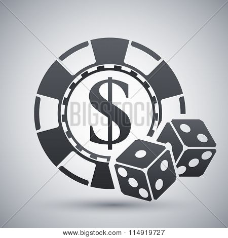 Gambling Chips With Two Dices, Vector Icon