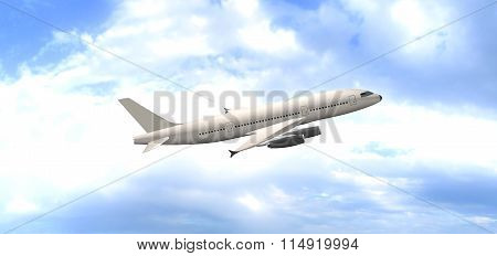 The Plane on a background of clouds