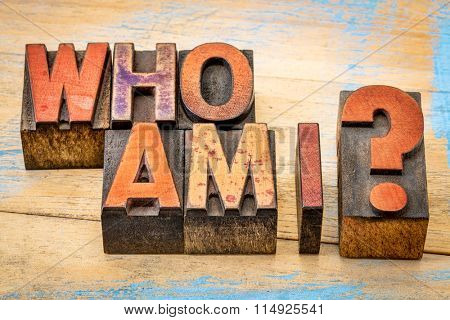 Who am I - a philosophical question spelled in vintage letterpress wood type printing blocks against grunge, painted wood