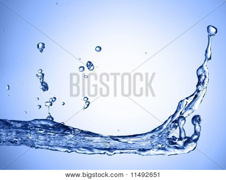 abstract water splash on blue gradient background poster