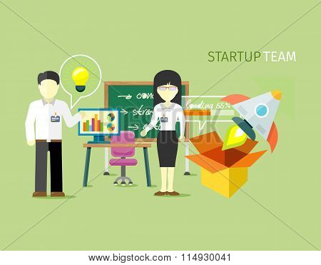 Startup Team People Group Flat Style