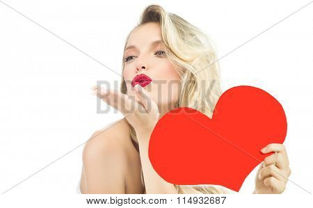 beauty portrait of attractive young caucasian  woman blond isolated on white studio shot red  lips  face long hair head and shoulders kiss red heart valentine's love