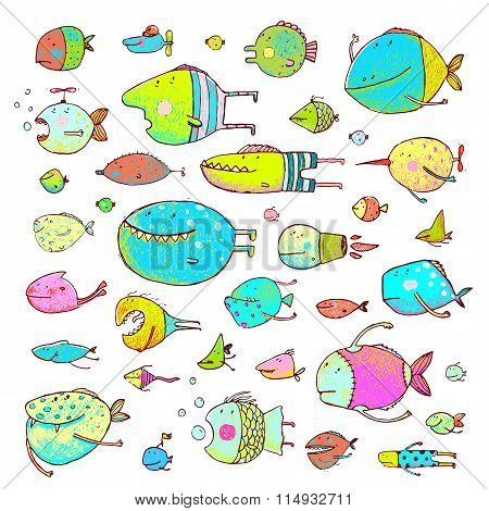 Cartoon Bizarre Fish Collection for Kids Hand Drawn