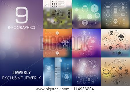 jewelry infographic with unfocused background