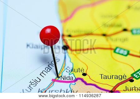 Nida pinned on a map of Lithuania