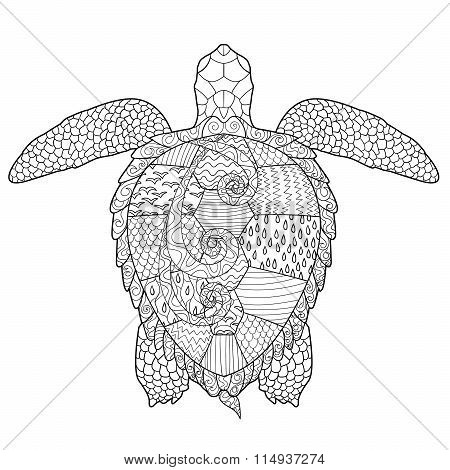 Adult antistress coloring page with turtle.