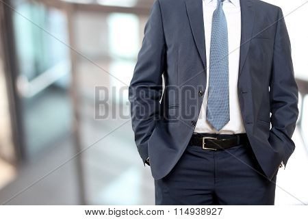 Business And Office Concept - Buisnessman In  A Blue/navy Suit