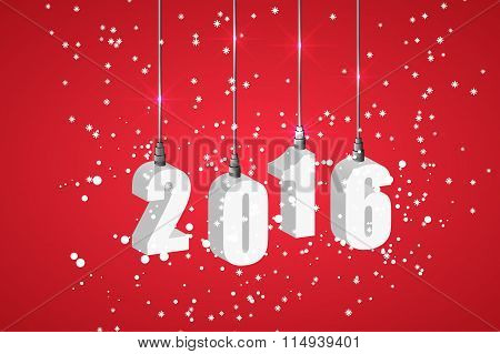 New year 2016 red banner with white hanging numbers.