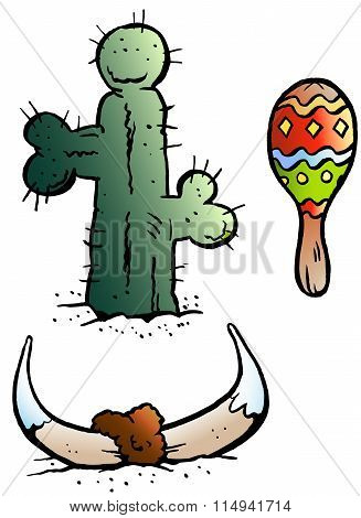 Vector Cartoon Illustration Of Some Mexico Elements Like, Maraca, Bull Horn And A Catus