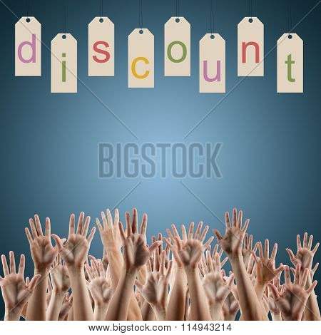 Black friday. Discount word on labels people hands up over blue background