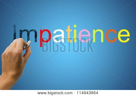 Changing the word Impatience for Patience using eraser
