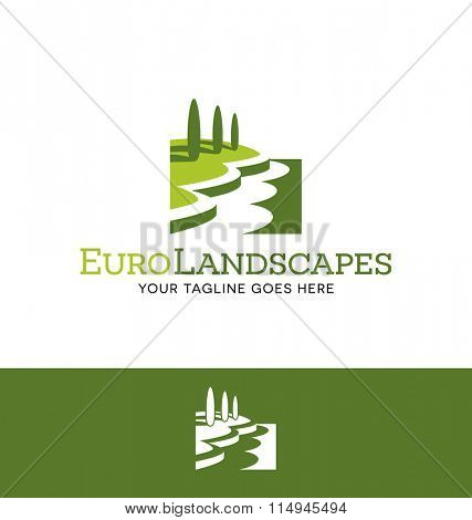 landscape logo for lawn or gardening business, organization or website