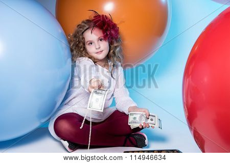 Teen Girl In A White Dress Holding A Wad Of 100 Dollar Bills