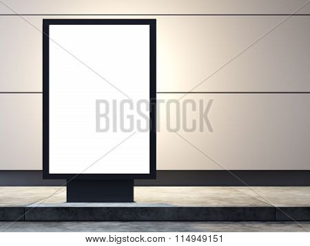 Empty lightbox on the street. Concrete wall  background. 3d render