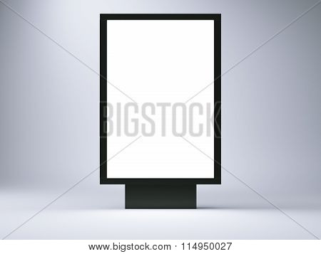 black lightbox in the empty studio. Front view. Blank gray wall background. 3d render