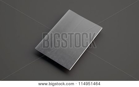Textbook with leather cover on the gray background. 3d render