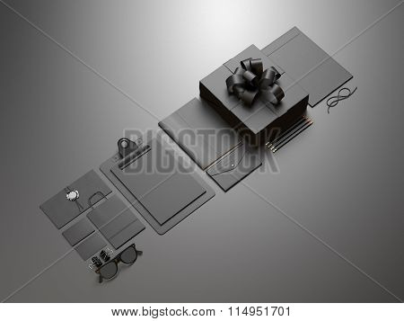 Set of business blank elements on the gray background. 3d render