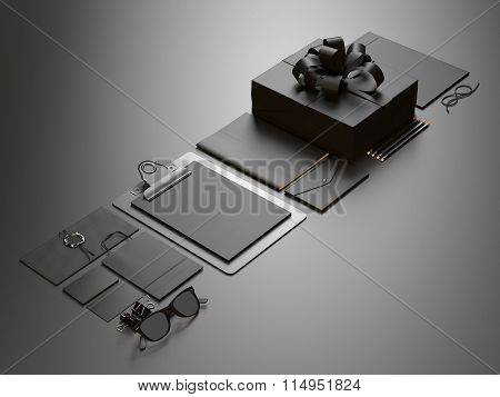 Set of blank office elements on the black background. 3d render