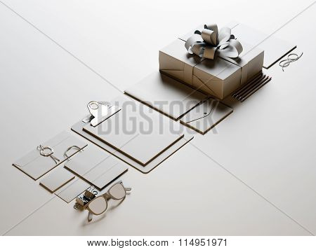 Set of blank office elements on the white background. 3d render