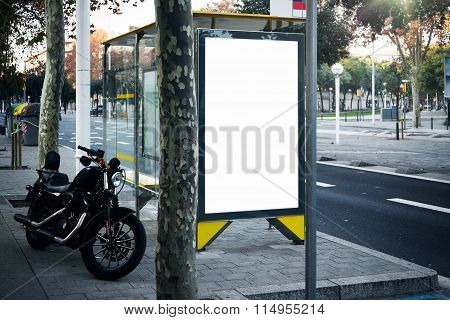 Blank lightbox on the bus stop in a city. Horizontal