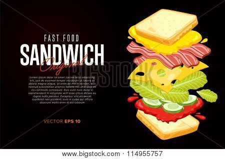 Sandwich on black background with abstract text