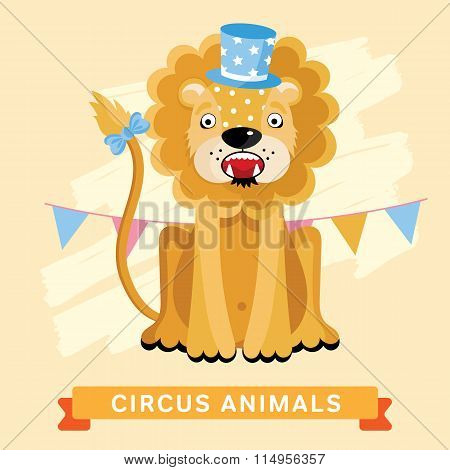 Circus Lion, vector animal series.