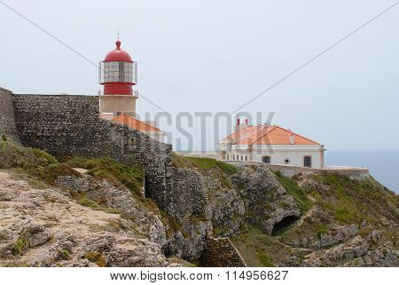 View to the lighthouse and buildizngs at St.Vincent cape in Sagres, Portugal.