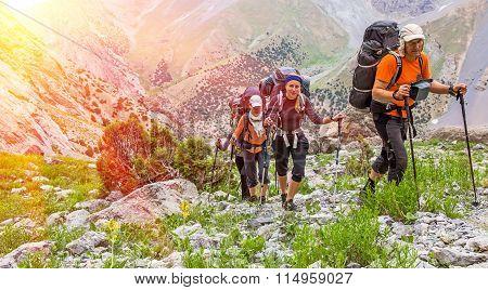 Extreme climbers scrambling up