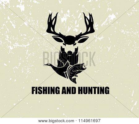 Fishing And Hunting Illustration