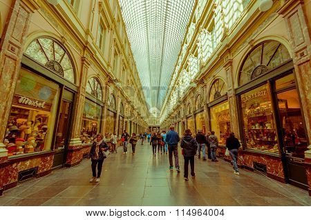 BRUSSELS, BELGIUM - 11 AUGUST, 2015: Galerie Royales Saint Hubert, very nice view down shopping alle
