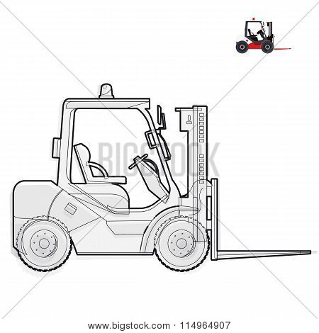 Black and white wire fork lift loader works in storage on white.