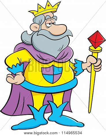 Cartoon king holding a scepter.