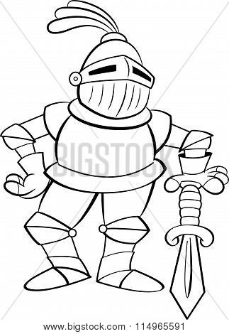 Cartoon knight leaning on a sword.