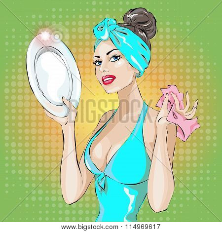 Pin-up housewife woman portrait in blue dress wash up plate. housekeeping sexy wife hand drawn vector illustration background poster