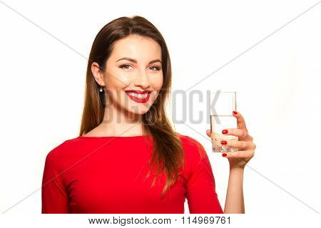Beautiful Girl Drinking A Glass Of Pure Water Smiling