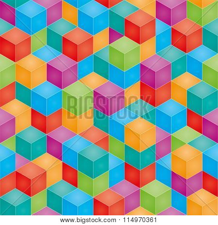 Stack of colorful baby blocks in isometric perspective. Vector seamless 3D background.