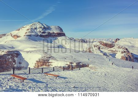 Winter landscape of high snowy mountains